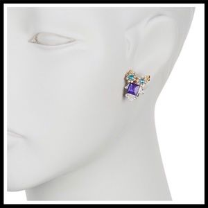 Betsey Johnson Jewelry - BETSEY JOHNSON PAVE JEWEL OWL STATEMENT EARRINGS